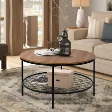 industrial round coffee table metal