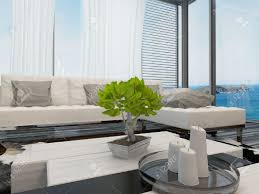 Modern bright living room Botanical Modern Modern Bright Airy Living Room Or Lounge Interior Overlooking The Sea With Large View Windows With 123rfcom Modern Bright Airy Living Room Or Lounge Interior Overlooking