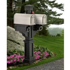 double mailbox post. Mayne Rockport Plastic Double Mailbox Post, Black Post L