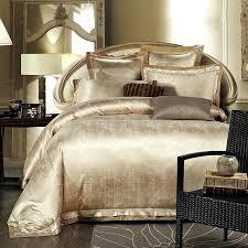 duvet covers king size gold white blue jacquard silk bedding set luxury 4pcs satin bed