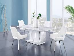 D894 Dining Room Set W White Swivel Chairs Global Furniture