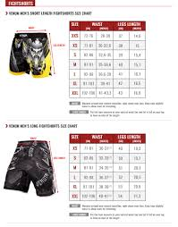 Venum Size Guide Venum Com Europe