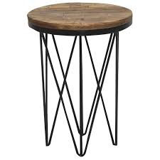 reclaimed wood round end table with hairpin metal legs aubrey rc willey furniture