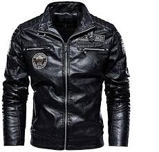 Men's <b>Vintage</b> Standing Collar PU Velvet Leather Jacket <b>2019 New</b> ...