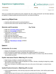 experience explanations lesson plan com