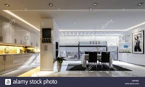 Dining Room Track Lighting 3d Rendering Of Spacious Kitchen Dining Room Combo With