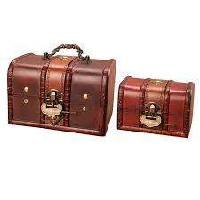 <b>Wooden Treasure Chest</b> Box, Set of <b>2</b> Decorative <b>Wood</b> Storage ...
