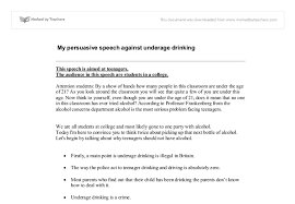 my persuasive speech against underage drinking gcse english  document image preview
