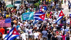 Cubans protest against the government