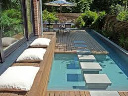 patio with pool. Small Spaces Backyard Landscape House Design And Patio With Outdoor Dining  Area Combined Hardwood Floor Tiles Surrounded Pool Ideas Patio With Pool