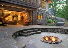 patio ideas with fire pit. Cute Outdoor Patio Ideas With Stone Fire Pit For Awesome Design