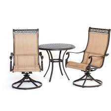 Hanover Manor 3-Piece Round Patio Bistro Set with Sling-Back ...