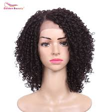 <b>14inch Short Hair Kinky</b> Curly Wig Synthetic Lace Front Wig African ...