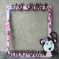 pink brown monkey ba shower selfie frame our wood creations in baby shower frames