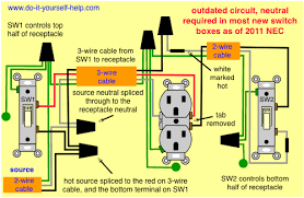 light switch wiring diagrams do it yourself help com 3 Wires To Outlet double split receptacle outlet wiring diagram 3 sets of wires to 1 outlet