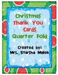 Quarter Cards Christmas Thank You Cards Quarter Fold