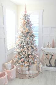Blush pink + rose gold white flocked vintage inspired Christmas tree by  Kara's Party Ideas |