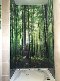 forest photo printed on glass shower walls