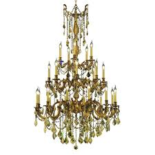 elegant lighting 25 light french gold chandelier with golden teak smoky crystal