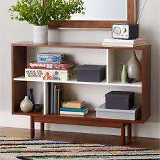 mid century modern bookshelf. Mid Century Modern Bookcase Storage Unit Console Table High Sheen White Finish Bookshelf