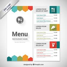 free food menu templates colorful menu template vector free download