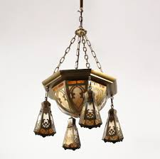 sold large antique brass six light chandelier with original slag glass early 1900s