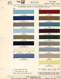Ford Falcon Colour Chart 1967 Ford Mustang Color Chart With Paint Mixing Codes