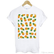 T Shirt With Pineapple Design Cotton Shirts Print Pineapple Fruit Design Graph Fashion Pop Art Party Cotton White T Shirt Plus Size Casual Clothing Ti Shirt Best T Shirt Sites From