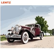 lentz classic car still life painting by numbers digital canvas wall art coloring by number for