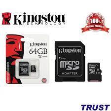 64GB Kingston Thẻ nhớ MicroSD Class 10 (Kèm Adapter) -64GB-Bảo Hành 5  Năm-Hàng Chính Hãng chính hãng 179,000đ