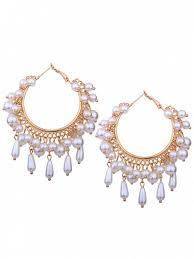 artificial pearl chandelier hoop earrings golden