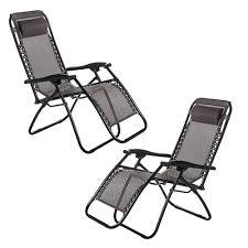 set of 2 zero gravity chair lounge recliner outdoor beach patio garden folding chair