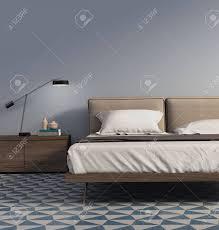 Blaues Schlafzimmer Mit Tischlampe Und Fliesen Lizenzfreie Fotos
