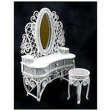 white wire makeup desk chair dollhouse furniture set