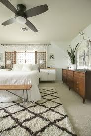 lamps plus ceiling fan in modern boho master bedroom