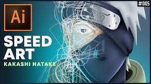KAKASHI HATAKE <b>vector</b> SPEED ART in Adobe Illustrator CC #005 ...