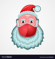 Santa claus face in a medical mask coronavirus Vector Image