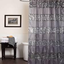 modern grey shower curtain. Bathroom, Outstanding Modern Grey Shower Curtain Ruffle With Transfarnat And Wooden Flooring For Bathroom Design R