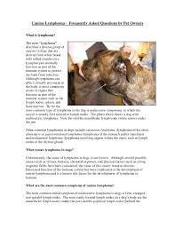 Canine Lymphoma Symptoms Canine Lymphoma Frequently Asked Questions By Pet Owners