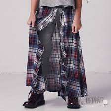 Jak Peppar Earth Wind And Fire Maxi Skirt Washed Plaid