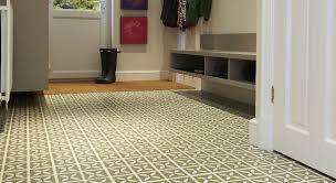 green victorian style vinyl tiles in a hallway