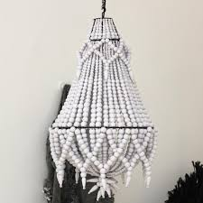 beaded chandelier in white small large