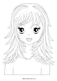 Manga Girl With Long Hair Coloring Pages