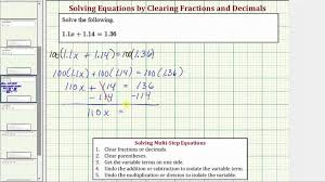 maxresdefault two step equations with decimals math worksheets ex solve basic equation clear two step