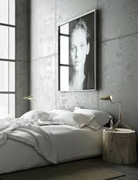 modern industrial bedroom.  Industrial Industrial Modern Bedrooms  Simple White Bedding Concrete Walls A  Sophisticated Tree Stump Nightstand Via Abigail Phillips Booten For Bedroom