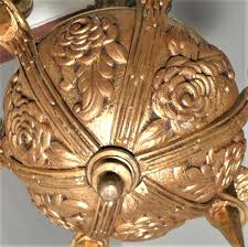 art déco france 1930 chandelier plated bronze hanging chandelier 6 geometric tulips