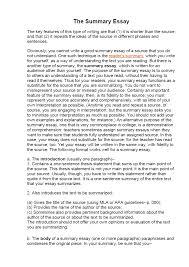 Summary Essay Samples Examples