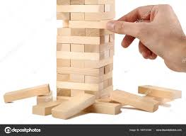 Game Played With Wooden Blocks Male Hand Playing Wooden Blocks Tower Game White Background 27