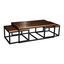 Stunning Nesting Coffee Table With Solid Brown Wood Materials Rectangle  Shaped Three Levels Top Design And