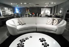 luxury white half round leather sofa with round coffee table for modern living room interior design ideas